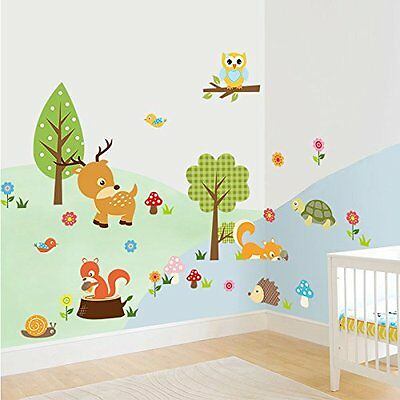 DOOXOO Forest Animals Wall decal Children Wall Art Decal Tree Tops Woodland Baby