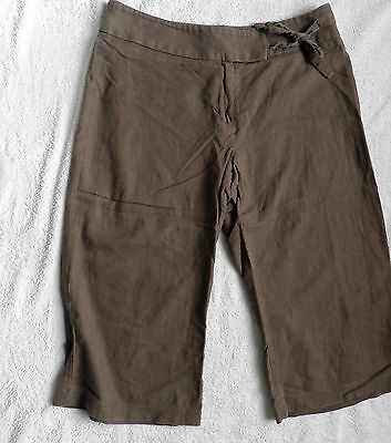 Taupe Linen Cropped Trousers by Marks and Spencer Size 16