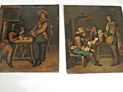 Antique 19th c. Oil Paintings of 18th c. Medieval Cavalier Soldiers Pair