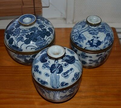 3 Chinese porcelain pot cover 19/20th