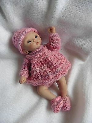 HAND KNITTED  SET FOR CLAY SCULPT /OOAK/ BABY DOLL . 6 inch