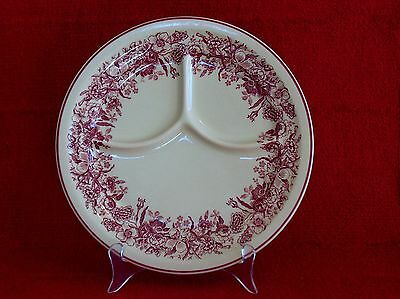 "Vtg 1940s Shenango China Inca Ware 9-1/2"" Divided Grill Plate with Maroon Floral"