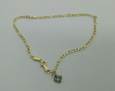 """9ct HM gold and blue topaz large bracelet or small anklet - 9.5"""""""