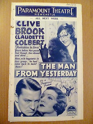 Rare Cinema Programme 1933 Paramount Theatre Newcastle: The Man from Yesterday