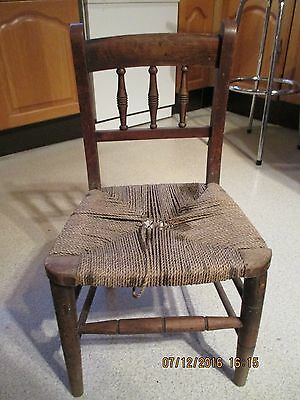 Vintage Childs Wooden Chair Turned Spindle Cord Woven Weave Seat for restoration