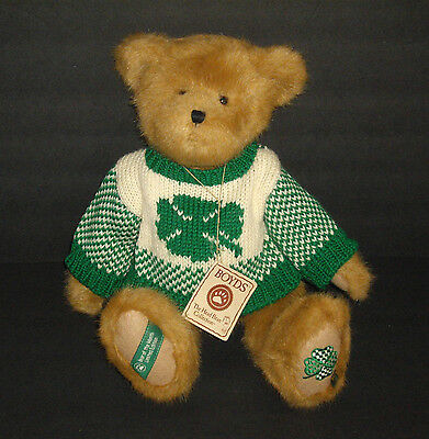 """2006 Boyds Bears 16"""" Jointed Lucky Liam St Patricks Day Plush Bear LE with Tag"""