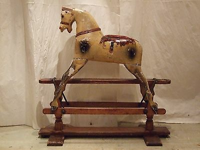 Small Antique Rocking Horse by W. Barker C 1930