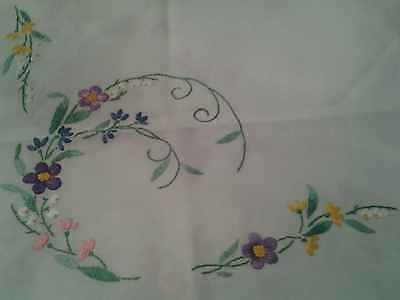 Vintage Hand Embroidered Table cloth, FLOWERS