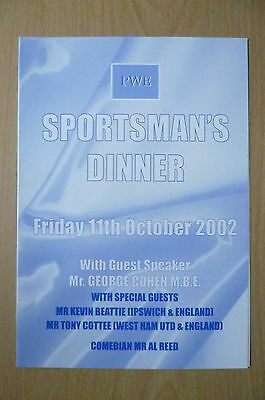 2002 SPORTSMAN'S DINNER MENU- HAND SIGNED by GEORGE COHEN- Fulham FC (ORG)11 Oct