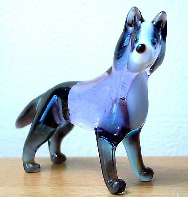 "Hand Blown ""murano"" Glass Collectable Siberian Husky  Figurine"