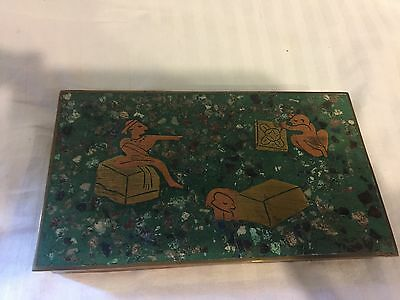 Vintage Taxco Box Inlaid With Lapis, Malachite And Brass Wood Lined