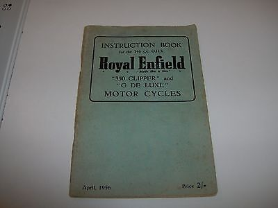 ROYAL ENFIELD 350 CLIPPER and G DE LUXE Instruction Book April 1956