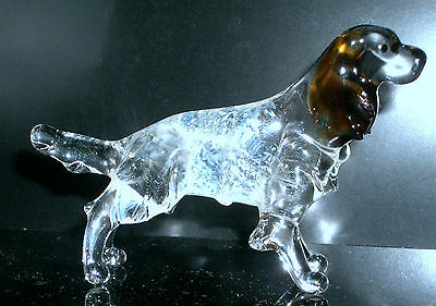 """Hand Blown """"murano"""" Glass Collectable English Setter Dog Figurine"""