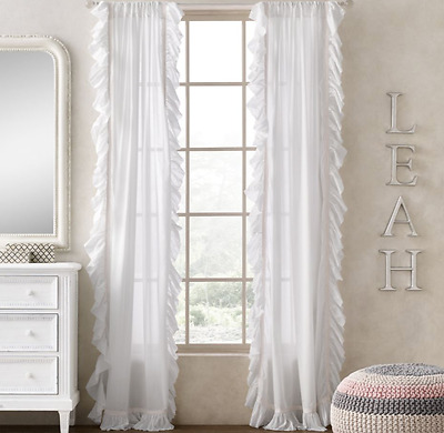 NEW Restoration Hardware Ruffled Voile White Petal Pink Panel 50 X 96
