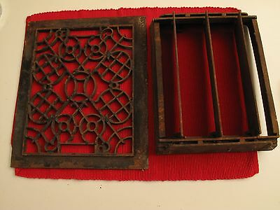 "Antique Cast Iron Register Vent / Ornate Victorian Style Cover 11 3/4"" X 10 7/8"""
