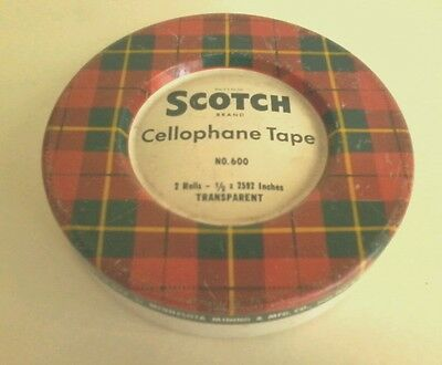 Vintage Collectable Empty Scotch Cellophane Tape Tin