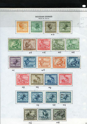 BELGIAN CONGO 1923-27 page from Old Minkus.Mixed Mtd Mint/Mint no gum