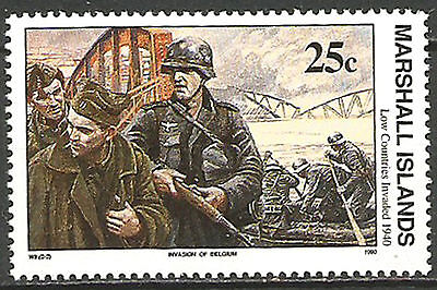 Marshall Islands 1980 WW2 1940 Invasion Belgium - Low Countries Invaded WW2 MNH