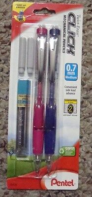 2  Pentel Twist-Erase Side Click Mechanical Pencils FUSCIA/VIOLET BARRELS 0.7mm.