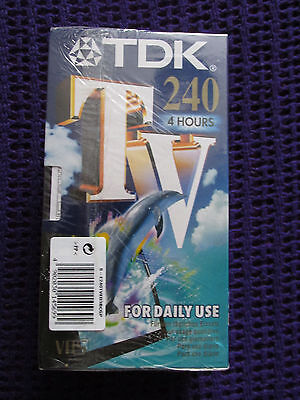 Brand New & Sealed 3 TDK Blank VHS Tapes 4 hours each 240 minutes