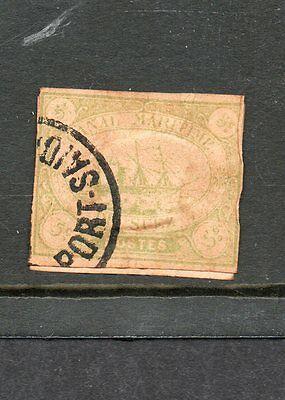 EGYPT SUEZ CANAL Co ISSUES 1868 SG 2  5 cent green used