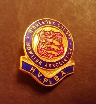 VINTAGE ENAMEL BADGE. MIDDLESEX COUNTY BOWLING ASSOCIATION. H.V.P's.B.A.