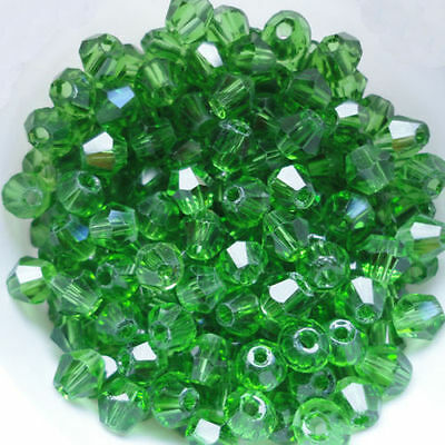 50, 4mm  Green Crystal Bicone Beads