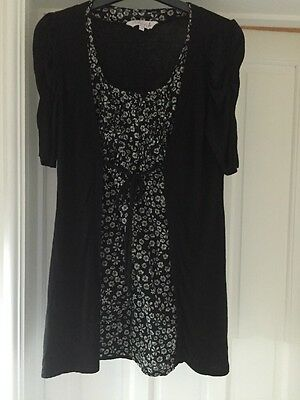 Red Herring Maternity/Nursing Black Floral Long Top With Attached Cardigan Sz 10