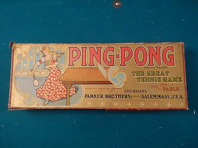 1902 PING PONG, Parker Bros. with net, net stands, balls, ball box, 2 paddles