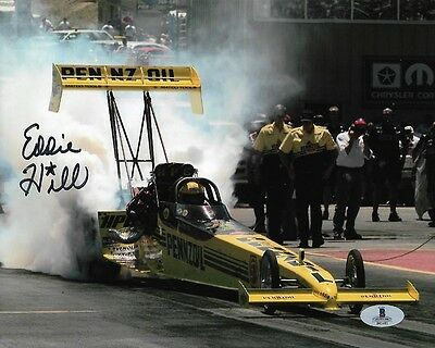 EDDIE HILL SIGNED AUTOGRAPHED 8x10 PHOTO DRAG RACING BECKETT BAS $14.99 STARTING