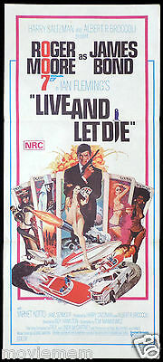 LIVE AND LET DIE James Bond 007 Australian daybill poster Roger Moore