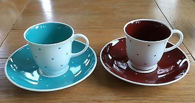 Susie Cooper Polka Dot Coffee Cups And Saucers X 2