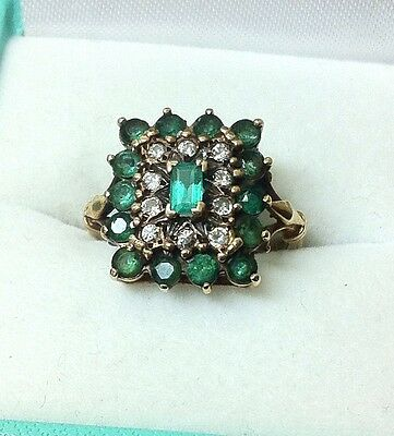 Stunning Antique Fine Emerald And Diamond Yellow Gold Ring Size O Hallmarked