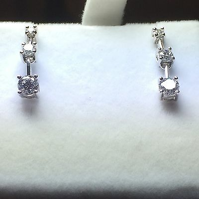 10KWhite Gold 3-Stone Past Present Future Earrings Gift Boxed
