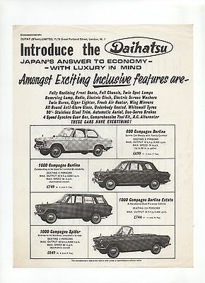 1965 Daihatsu Compagno leaflet: launch leaflet for Daihatsu cars in the UK