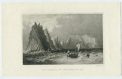 "Antique Print/engraving - ""the Needles And Scratchell's Bay"", Isle Of Wight"