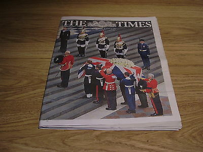 The London Times Margaret Thatcher Funeral Edition Thursday 18Th April 2013