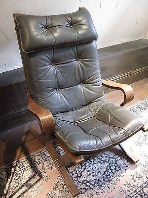 20th Century Chocolate Brown Leather Bentwood Armchair