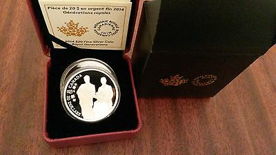 """Canada 2014 """"Royal Generations"""" $20 One Ounce Silver Proof Coin"""