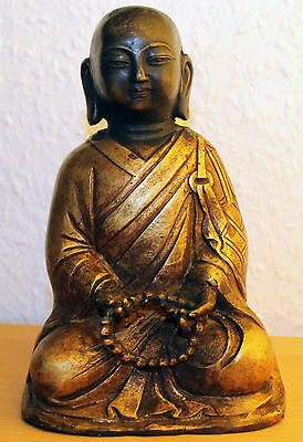 China Lohan Buddha aus Bronze chinese brass Statue Figur Skulptur carved old rar