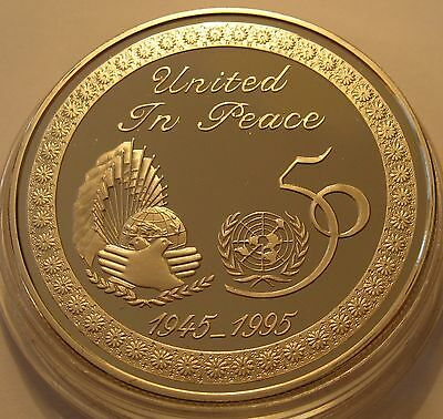KUWAIT 2 DINARS 1995 50th Anniversary - United Nations Silver Proof