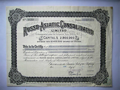 Russia Russland So. Russo-Asiatic Consolidated, certificate for 60 shares