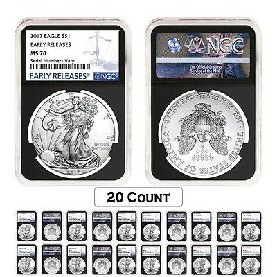 Lot of 20 - 2017 1 oz Silver American Eagle $1 Coin NGC MS 70 Early Release