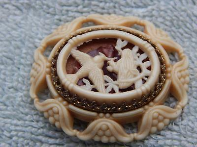 Vintage French Art Brass Carved Celluloid Bird Mother Feeding Brooch