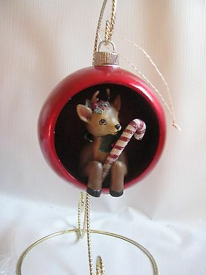 "Red Reindeer Ball Christmas Ornament Retro Indent Diorama 4-1/2""Ball Candy Cane"