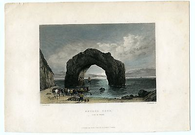 "Antique Print/engraving, Coloured""arched Rock"", Isle Of Wight"
