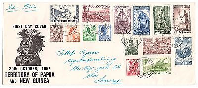 PAPUA Cover 1952 SET  to £1 sg1-15  * FIRST DAY * cover to Oslo Norway
