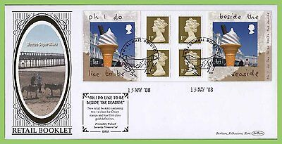 G.B. 2008 'Beside the Sea' booklet pane on Benham First Day Cover, Bristol