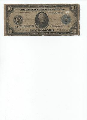 1914 United States $10. Federal Reserve Note. Paper Money