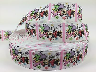 "3//8/"" Minnie Grosgrain Ribbon with Tiny Bows.Korker Hairbows Line Clips Crafts 5y"
